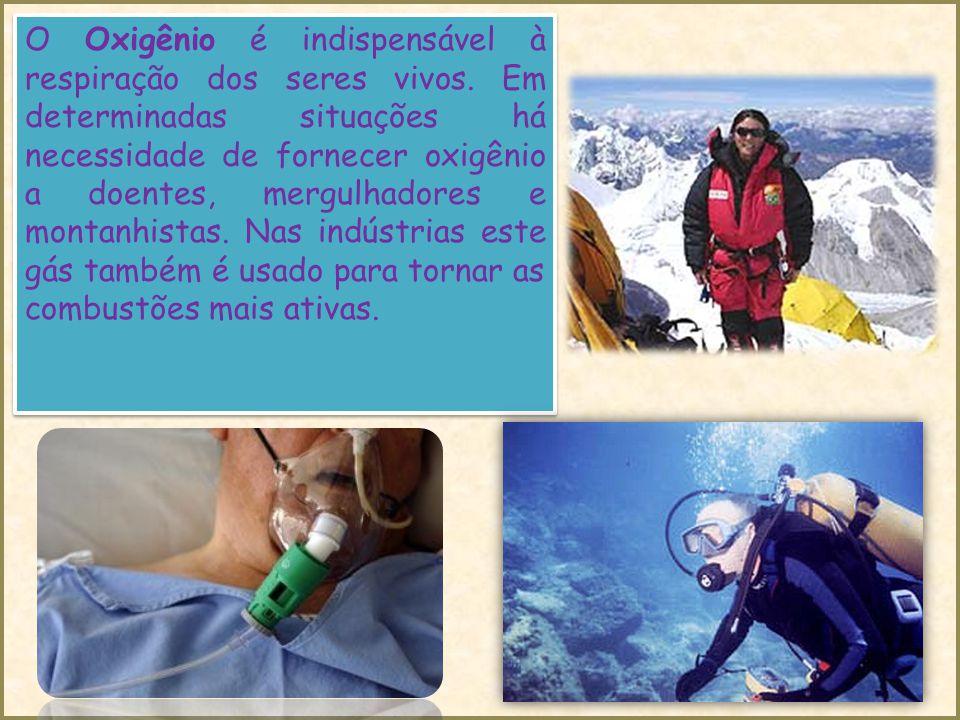 O Oxigênio é indispensável à respiração dos seres vivos