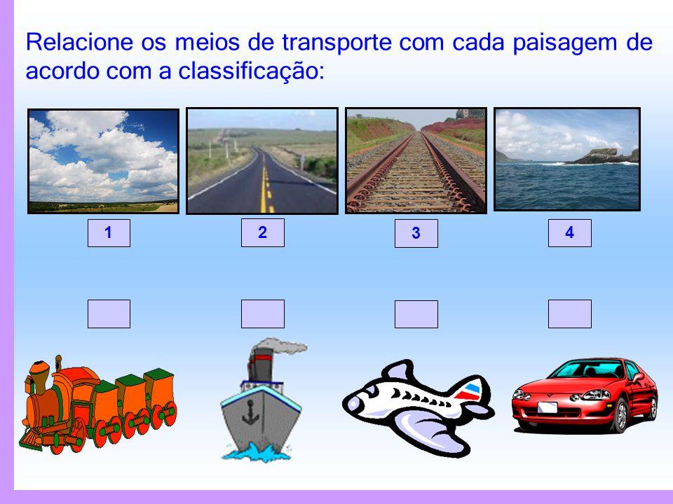 Relacione os meios de transporte com cada paisagem de acordo com a classificação: