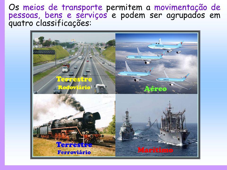 Os meios de transporte permitem a movimentação de pessoas, bens e serviços e podem ser agrupados em quatro classificações: