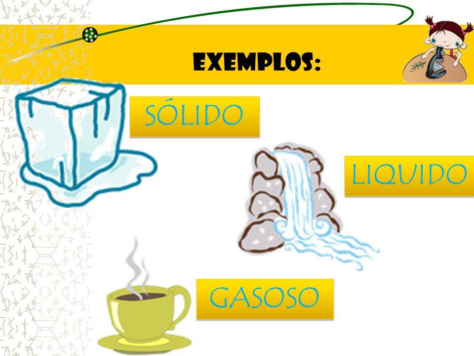 EXEMPLOS: SÓLIDO LIQUIDO GASOSO