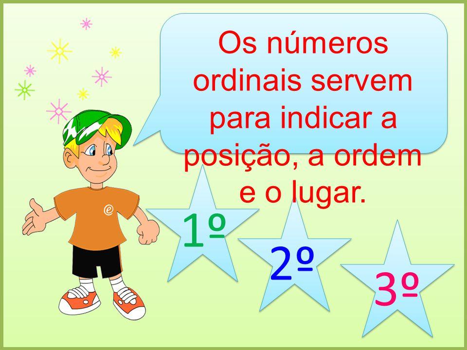Os números ordinais servem para indicar a posição, a ordem e o lugar.