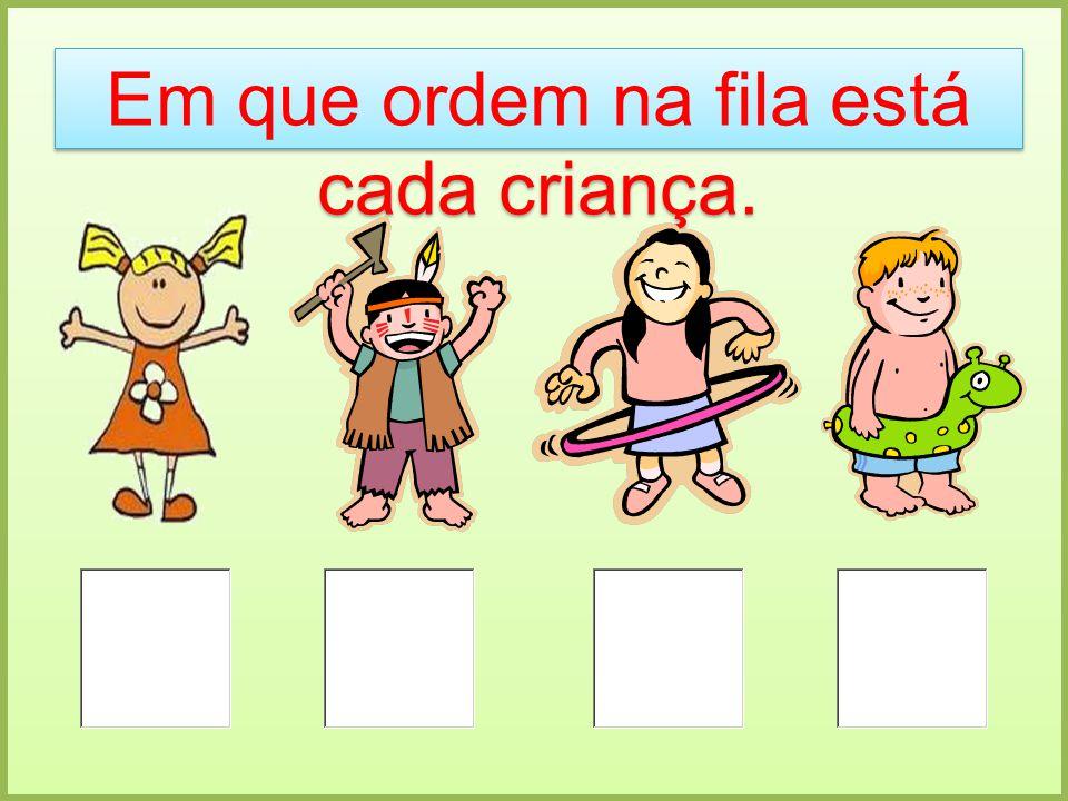 Em que ordem na fila está cada criança.