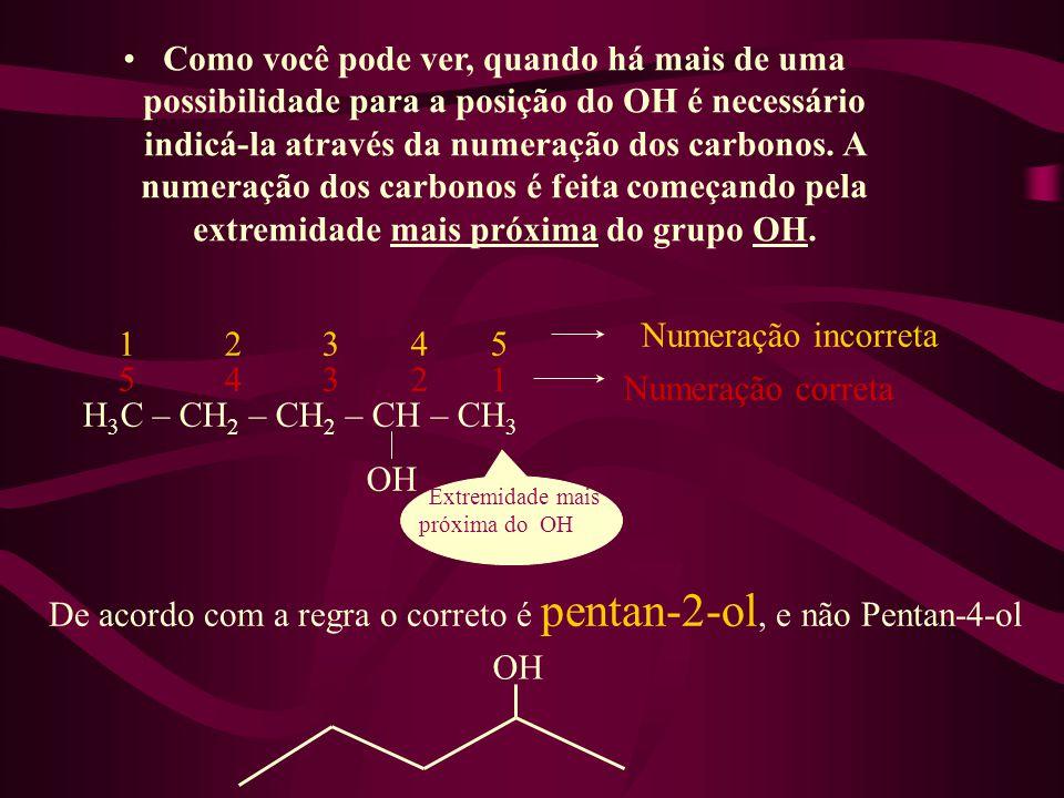 De acordo com a regra o correto é pentan-2-ol, e não Pentan-4-ol