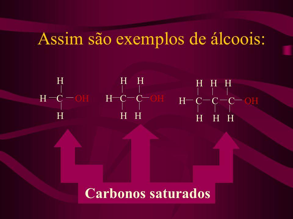 Assim são exemplos de álcoois: