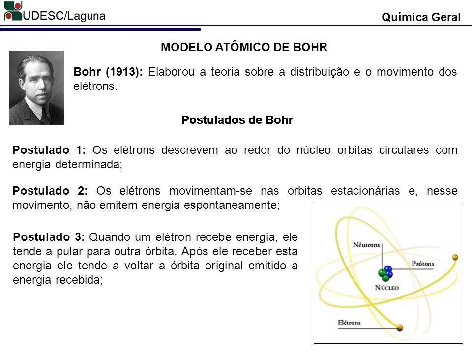 Química Geral MODELO ATÔMICO DE BOHR. Bohr (1913): Elaborou a teoria sobre a distribuição e o movimento dos elétrons.