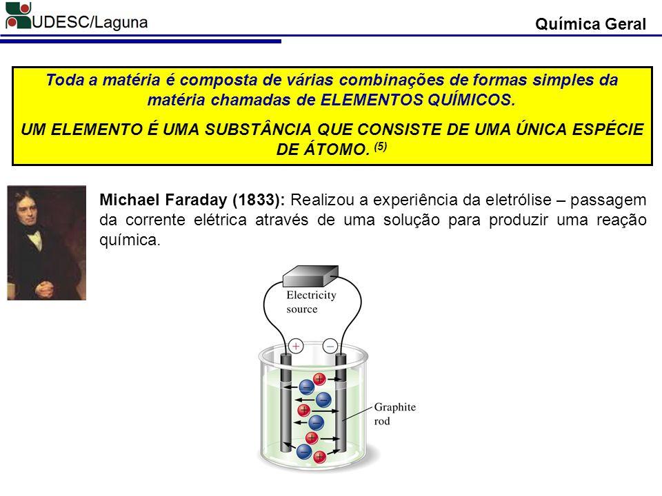 Química Geral Toda a matéria é composta de várias combinações de formas simples da matéria chamadas de ELEMENTOS QUÍMICOS.