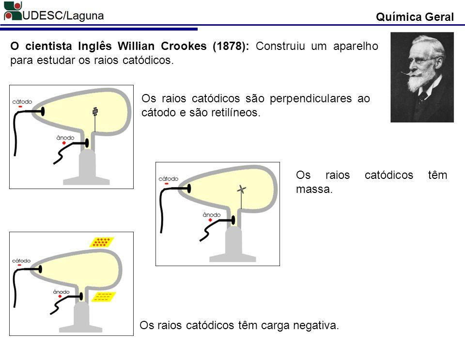 Química Geral O cientista Inglês Willian Crookes (1878): Construiu um aparelho para estudar os raios catódicos.
