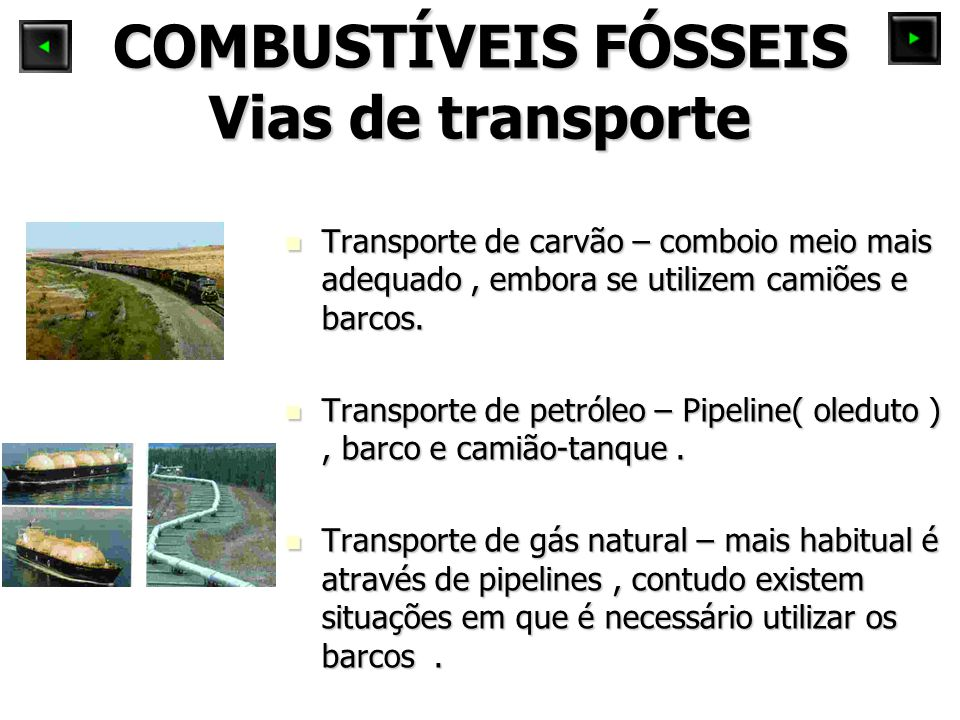 COMBUSTÍVEIS FÓSSEIS Vias de transporte