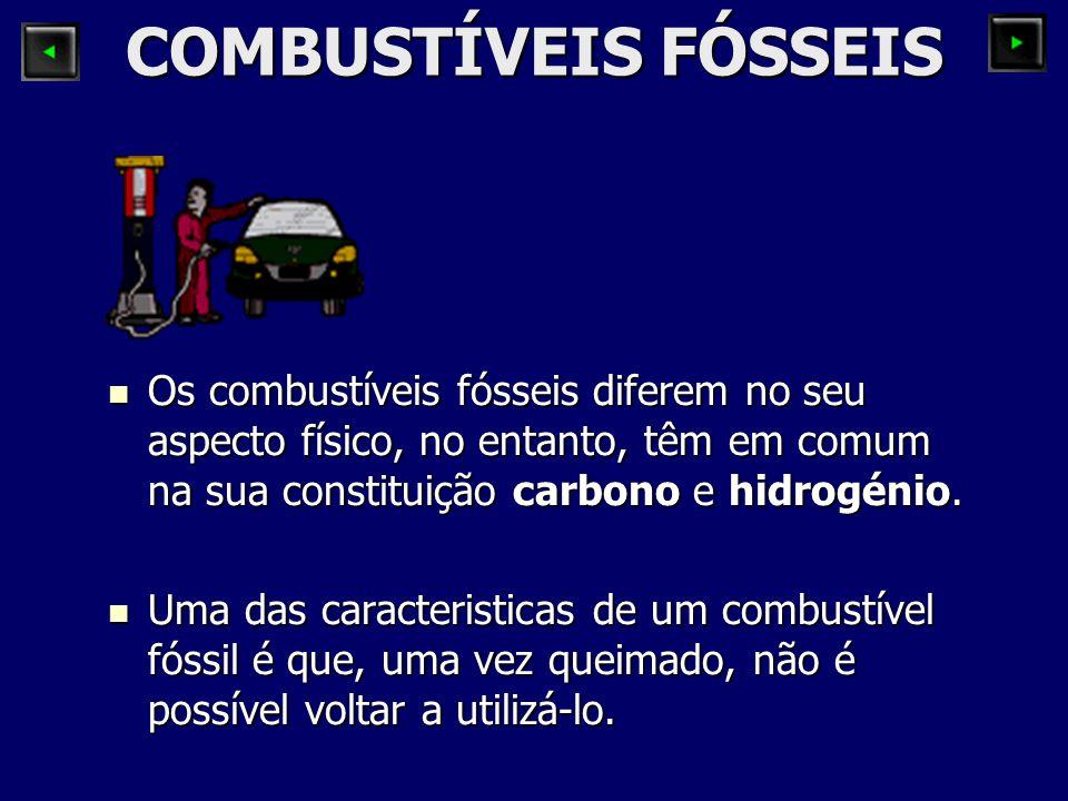 COMBUSTÍVEIS FÓSSEIS Os combustíveis fósseis diferem no seu aspecto físico, no entanto, têm em comum na sua constituição carbono e hidrogénio.