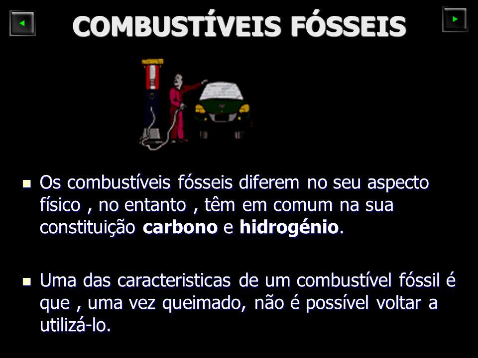 COMBUSTÍVEIS FÓSSEIS Os combustíveis fósseis diferem no seu aspecto físico , no entanto , têm em comum na sua constituição carbono e hidrogénio.