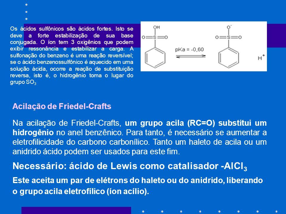 Necessário: ácido de Lewis como catalisador -AlCl3
