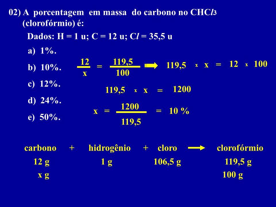 02) A porcentagem em massa do carbono no CHCl3 (clorofórmio) é: