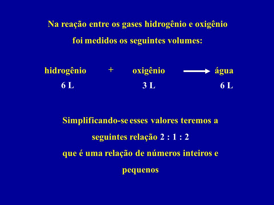 Na reação entre os gases hidrogênio e oxigênio