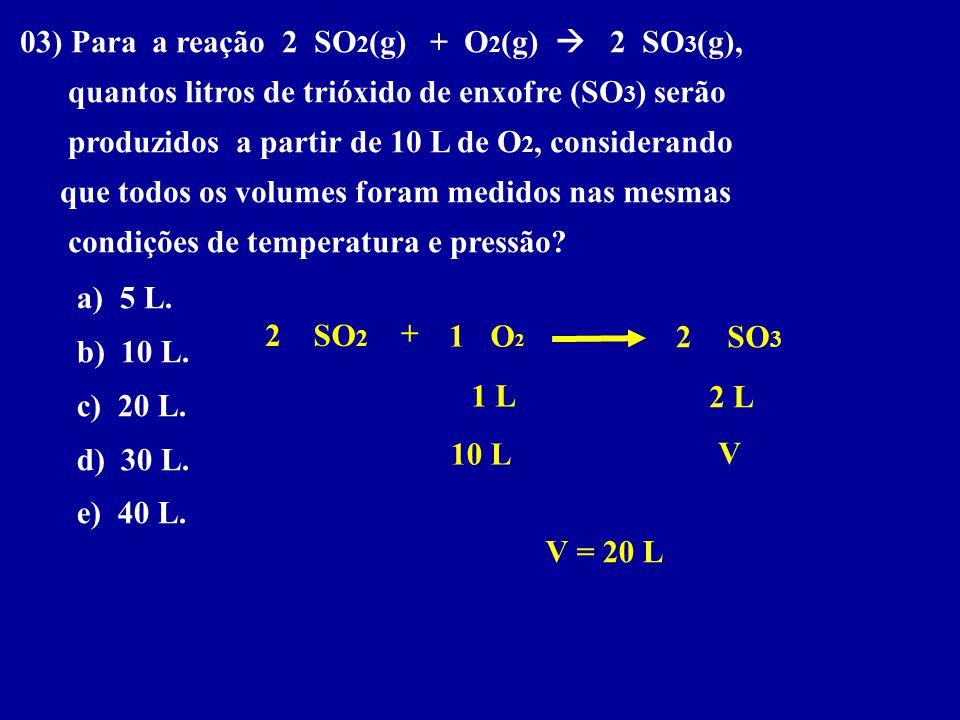 03) Para a reação 2 SO2(g) + O2(g)  2 SO3(g),