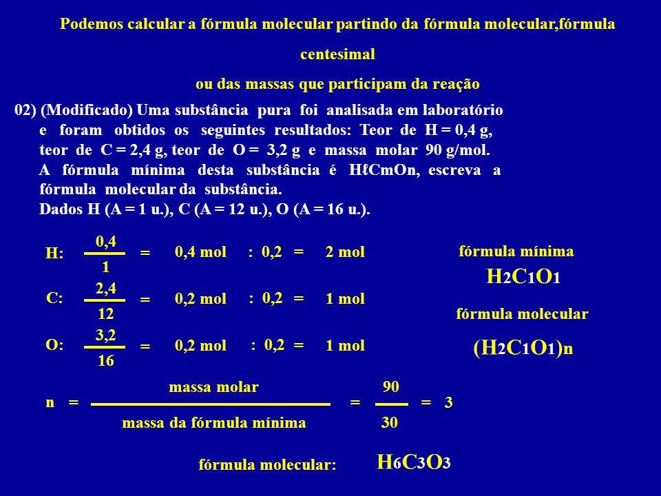 ou das massas que participam da reação massa da fórmula mínima