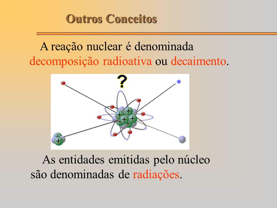 Outros Conceitos A reação nuclear é denominada decomposição radioativa ou decaimento.