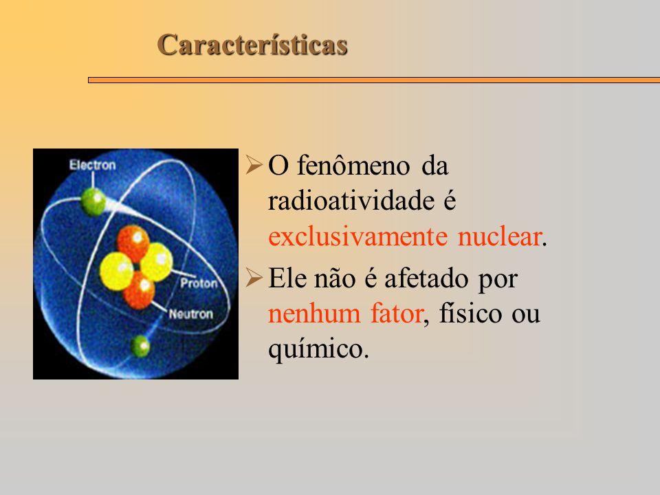 Características O fenômeno da radioatividade é exclusivamente nuclear.