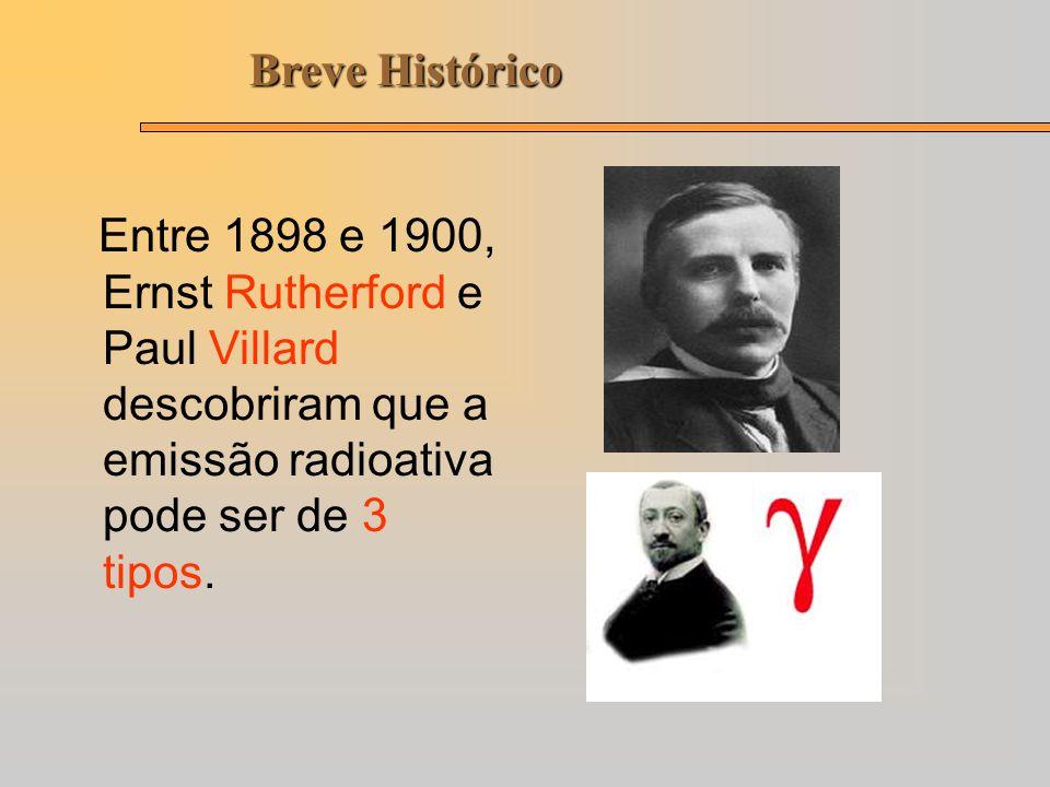 Breve Histórico Entre 1898 e 1900, Ernst Rutherford e Paul Villard descobriram que a emissão radioativa pode ser de 3 tipos.