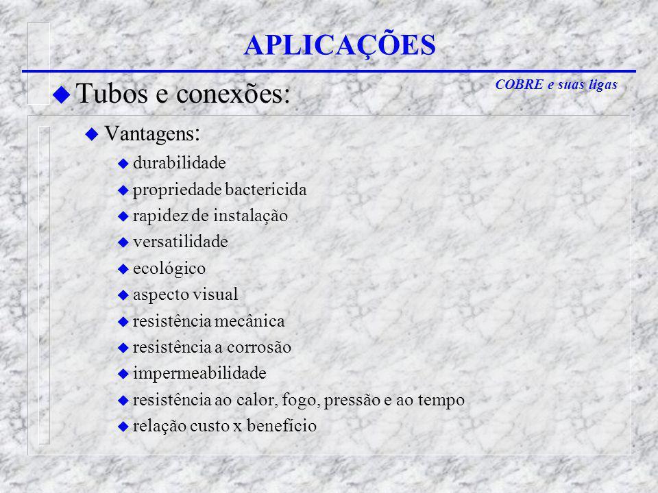 APLICAÇÕES Tubos e conexões: Vantagens: durabilidade