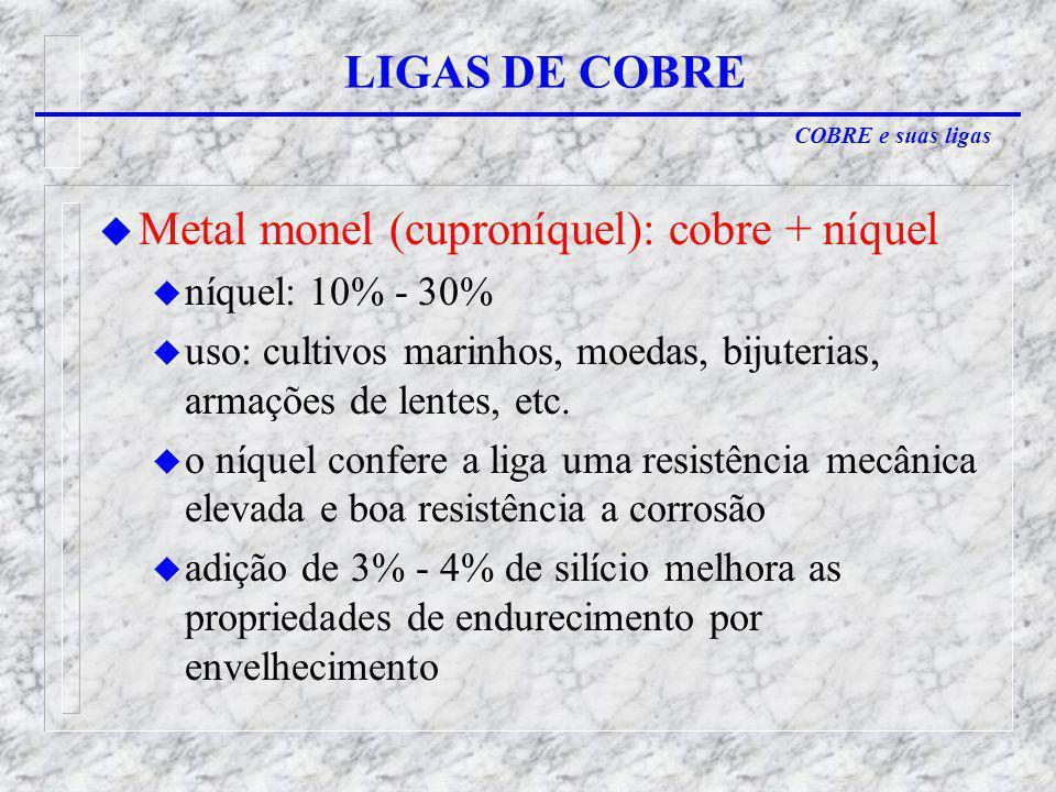 Metal monel (cuproníquel): cobre + níquel