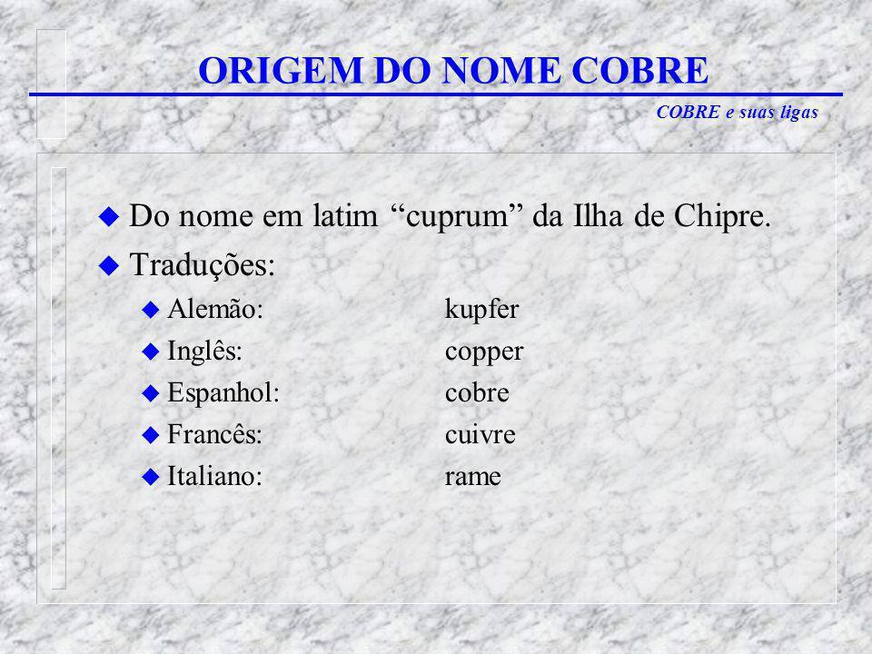 ORIGEM DO NOME COBRE Do nome em latim cuprum da Ilha de Chipre.