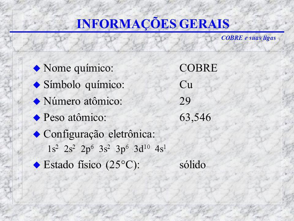 INFORMAÇÕES GERAIS Nome químico: COBRE Símbolo químico: Cu