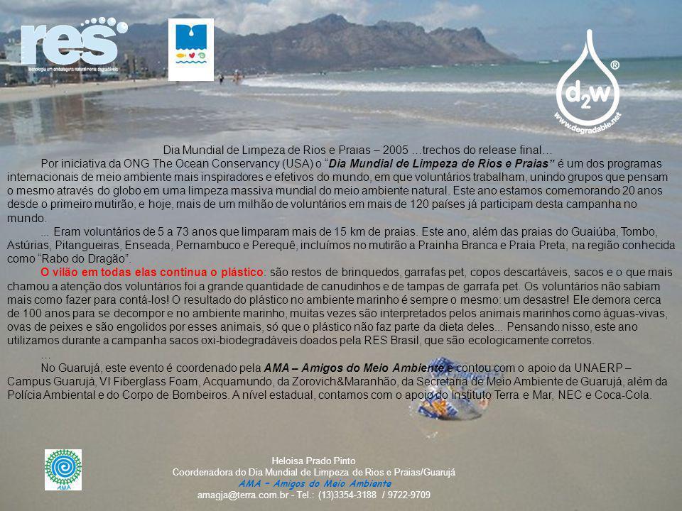 Dia Mundial de Limpeza de Rios e Praias – 2005 …trechos do release final…