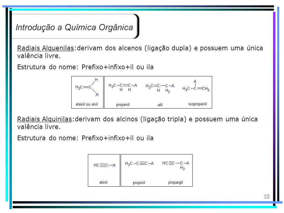 Radiais Alquenilas:derivam dos alcenos (ligação dupla) e possuem uma única valência livre.