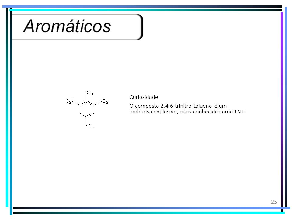 Curiosidade O composto 2,4,6-trinitro-tolueno é um poderoso explosivo, mais conhecido como TNT.