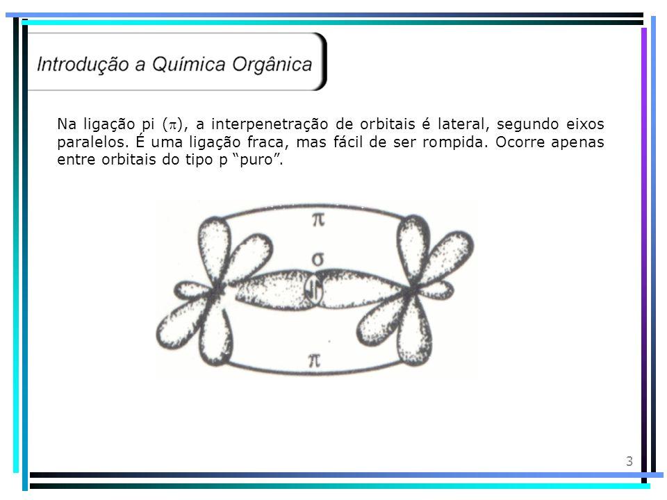 Na ligação pi (), a interpenetração de orbitais é lateral, segundo eixos paralelos.