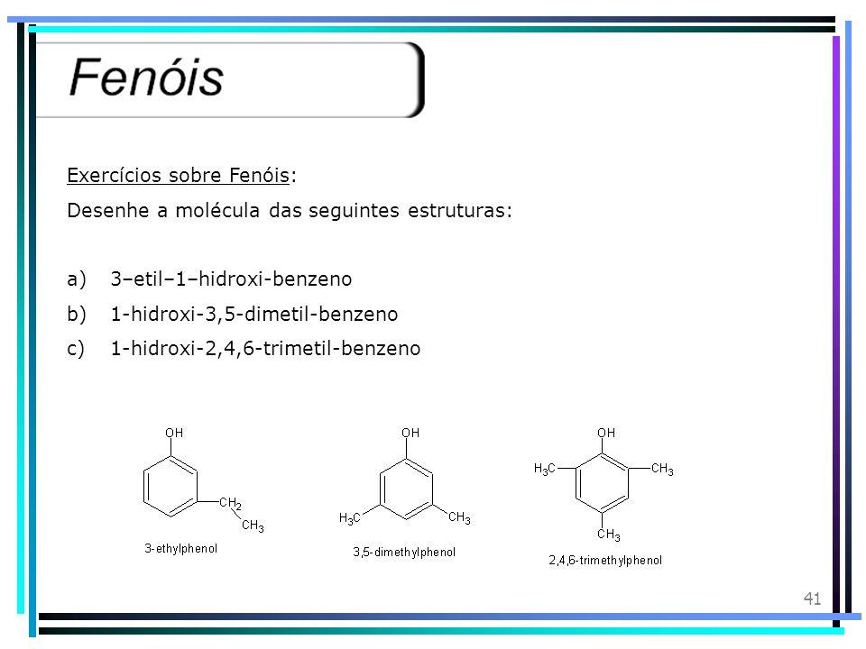 Exercícios sobre Fenóis: