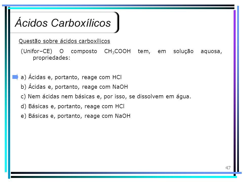 Questão sobre ácidos carboxílicos
