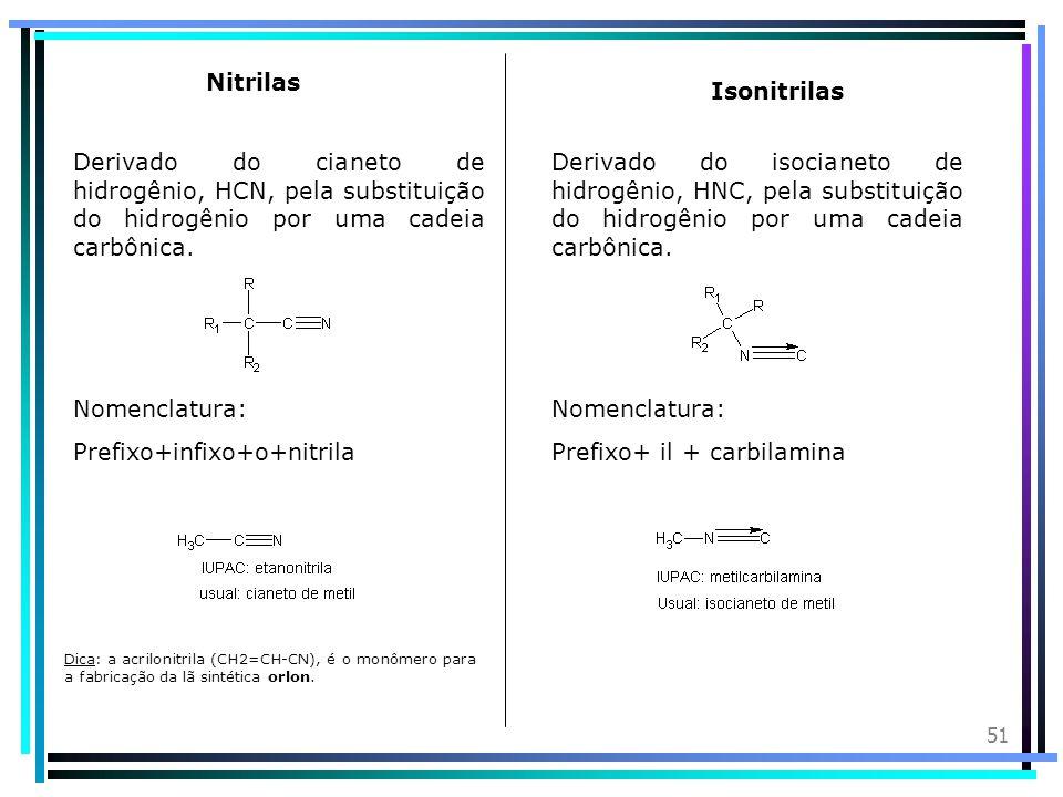 Prefixo+infixo+o+nitrila Nomenclatura: Prefixo+ il + carbilamina