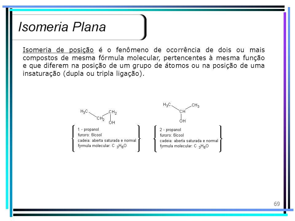 Isomeria de posição é o fenômeno de ocorrência de dois ou mais compostos de mesma fórmula molecular, pertencentes à mesma função e que diferem na posição de um grupo de átomos ou na posição de uma insaturação (dupla ou tripla ligação).