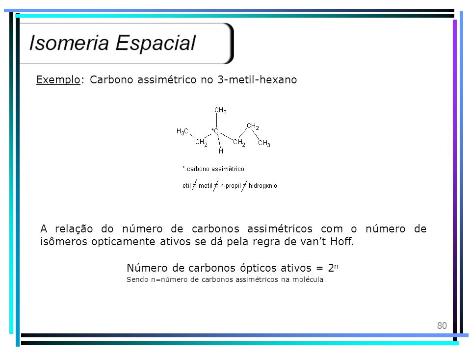 Exemplo: Carbono assimétrico no 3-metil-hexano