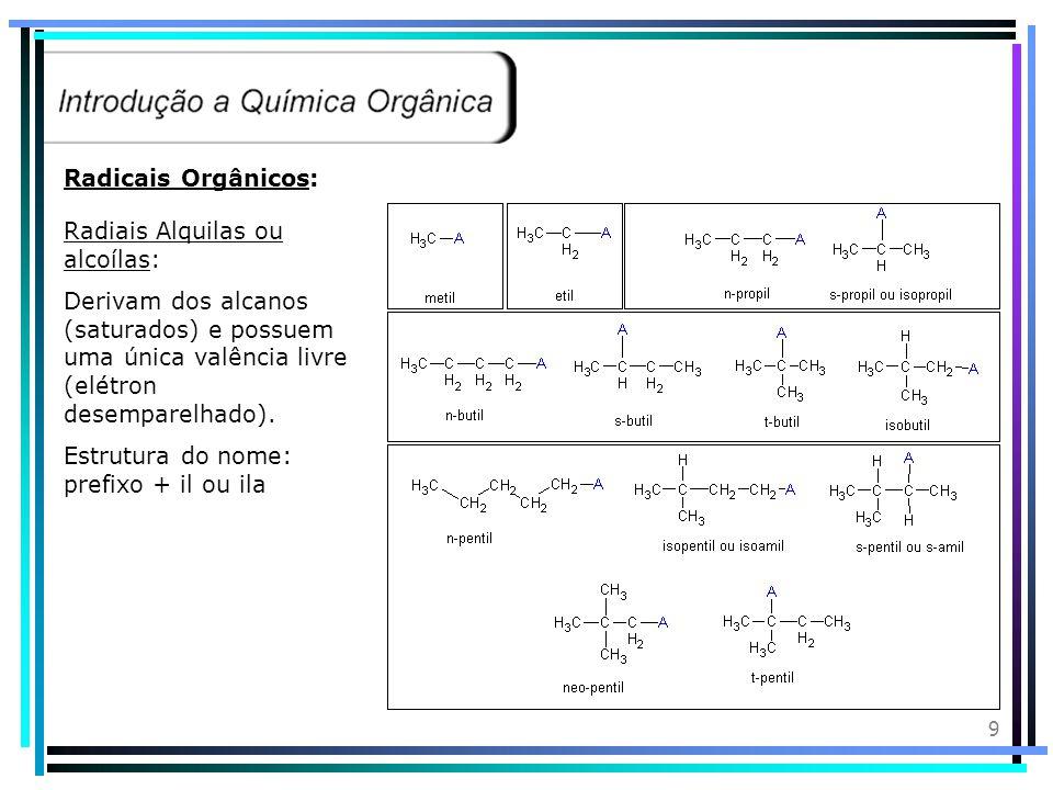 Radicais Orgânicos: Radiais Alquilas ou alcoílas: Derivam dos alcanos (saturados) e possuem uma única valência livre (elétron desemparelhado).