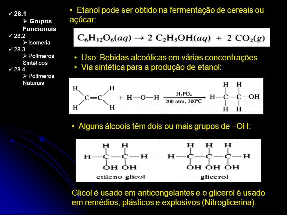 Etanol pode ser obtido na fermentação de cereais ou açúcar: