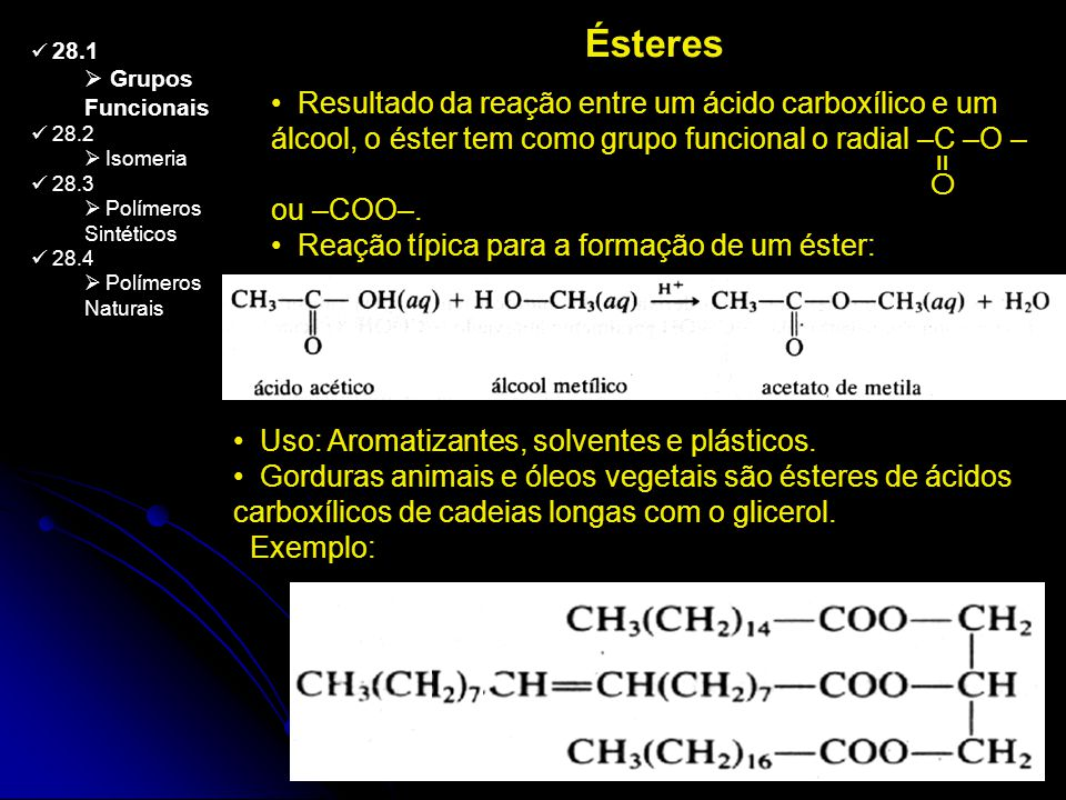 Ésteres 28.1. Grupos Funcionais. 28.2. Isomeria. 28.3. Polímeros Sintéticos. 28.4. Polímeros Naturais.