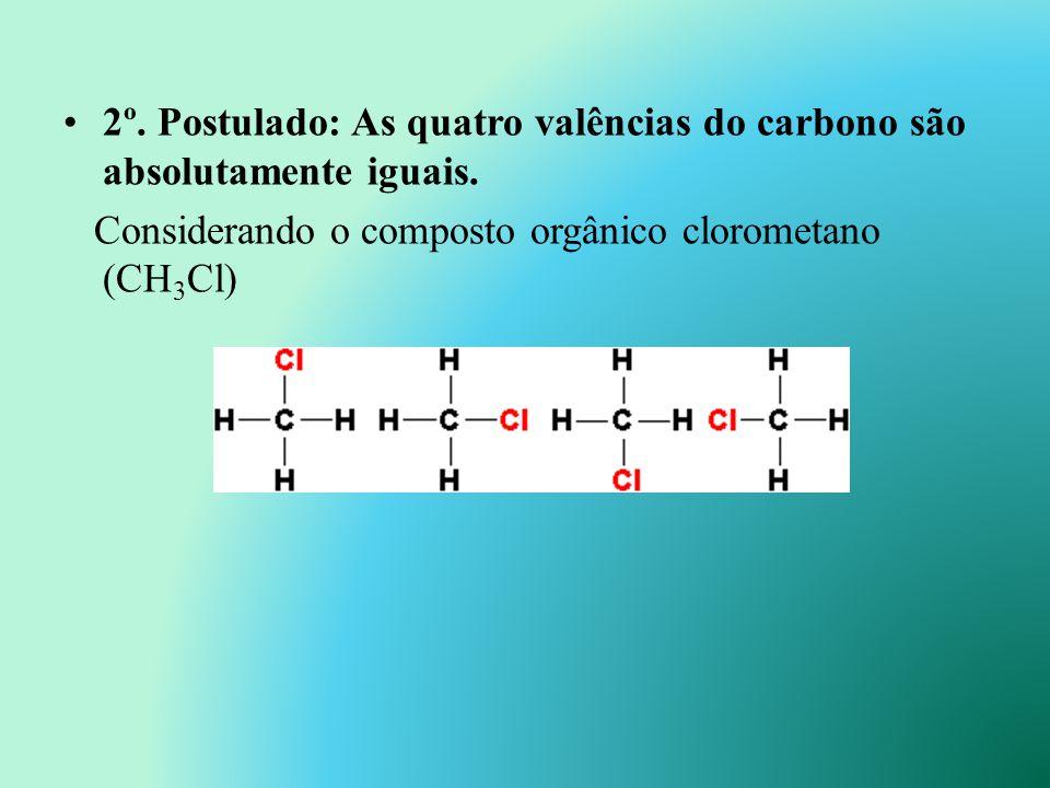 2º. Postulado: As quatro valências do carbono são absolutamente iguais.