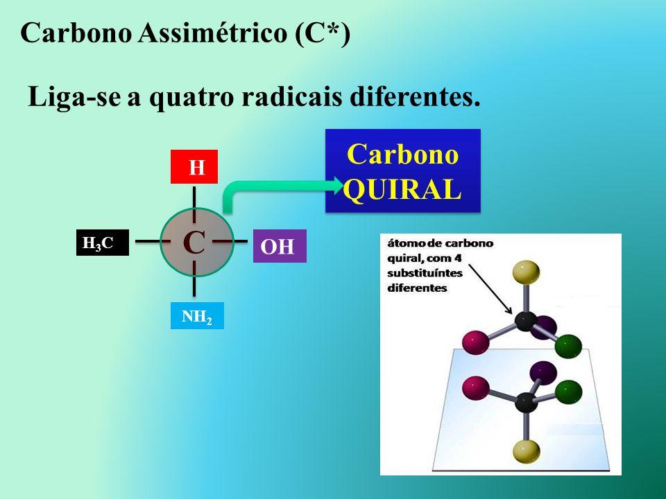Carbono Assimétrico (C*) Liga-se a quatro radicais diferentes.