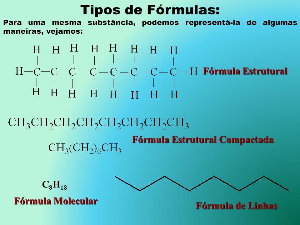 Tipos de Fórmulas: Fórmula Estrutural Fórmula Estrutural Compactada
