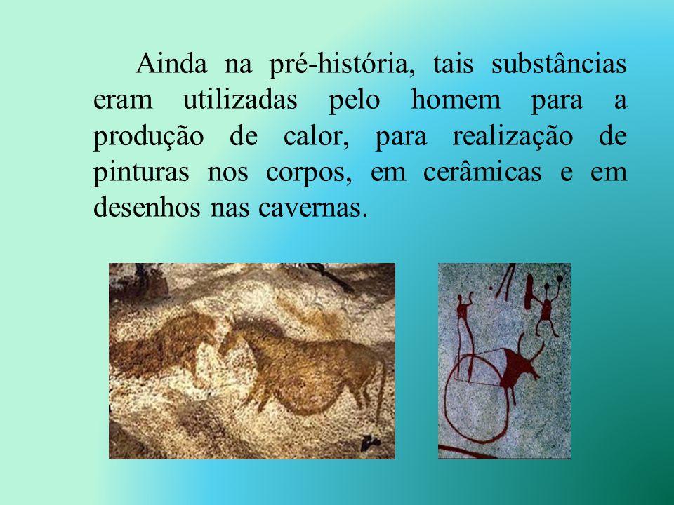 Ainda na pré-história, tais substâncias eram utilizadas pelo homem para a produção de calor, para realização de pinturas nos corpos, em cerâmicas e em desenhos nas cavernas.