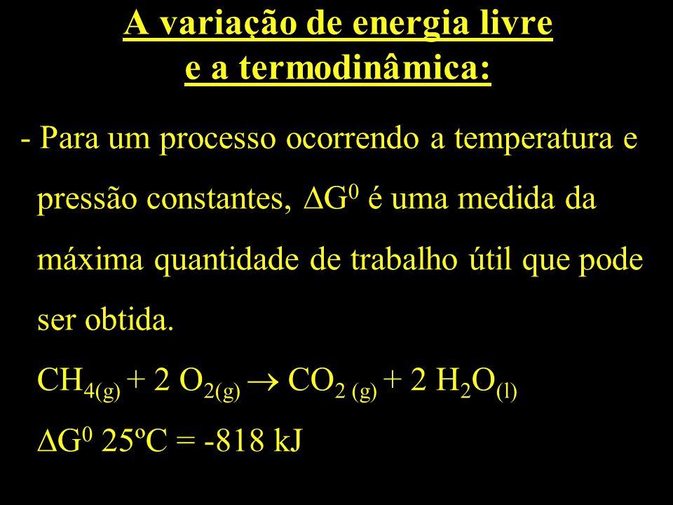 A variação de energia livre e a termodinâmica: