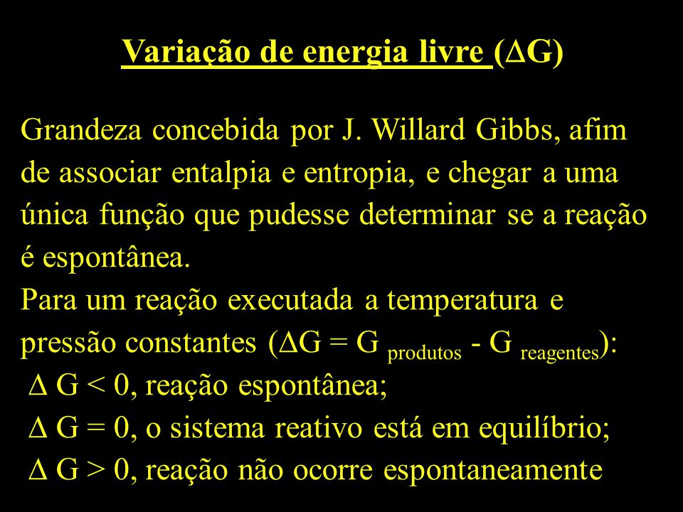 Variação de energia livre (G)