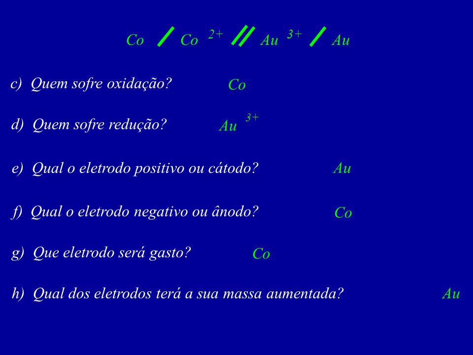 e) Qual o eletrodo positivo ou cátodo Au