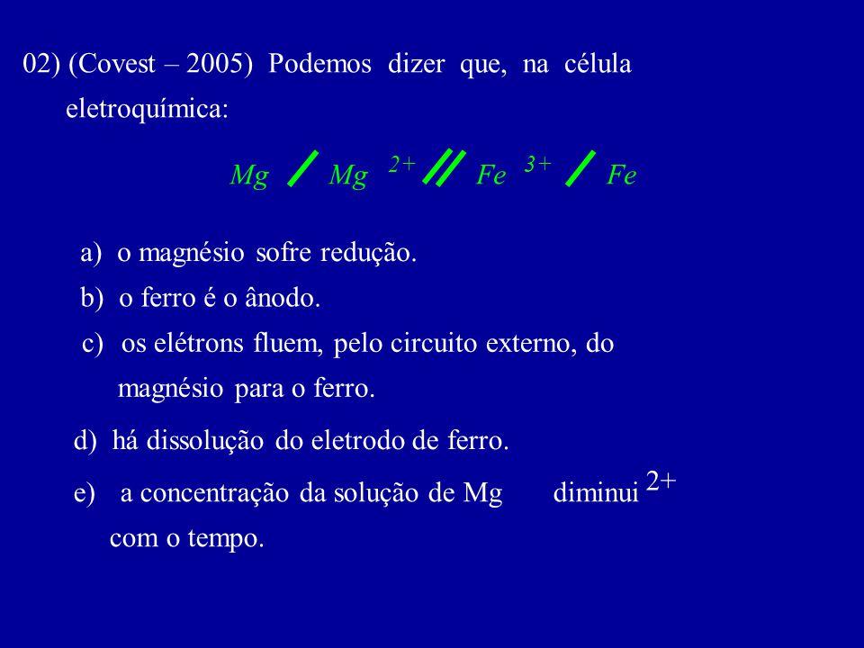 02) (Covest – 2005) Podemos dizer que, na célula eletroquímica: