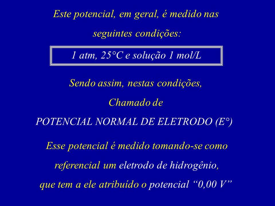 Este potencial, em geral, é medido nas seguintes condições: