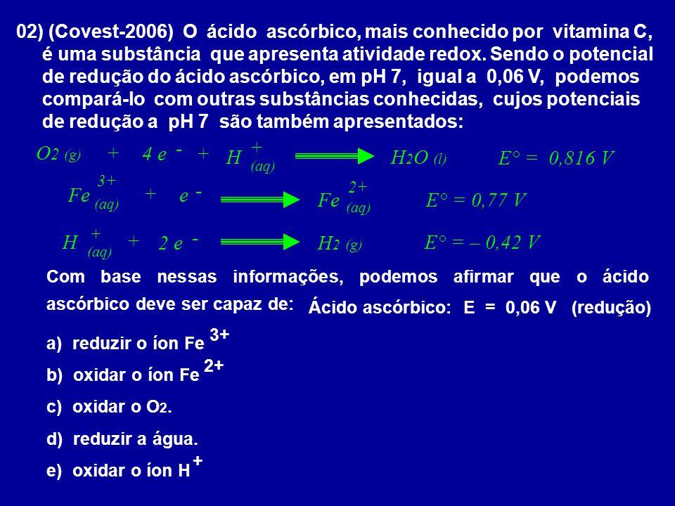 Ácido ascórbico: E = 0,06 V (redução)