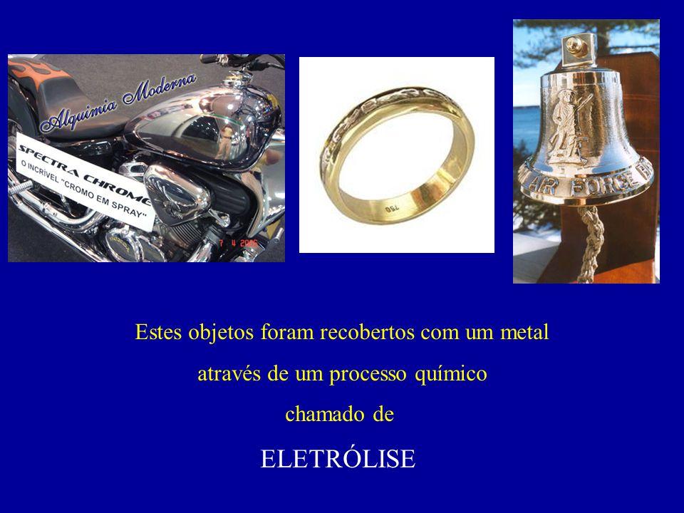 ELETRÓLISE Estes objetos foram recobertos com um metal