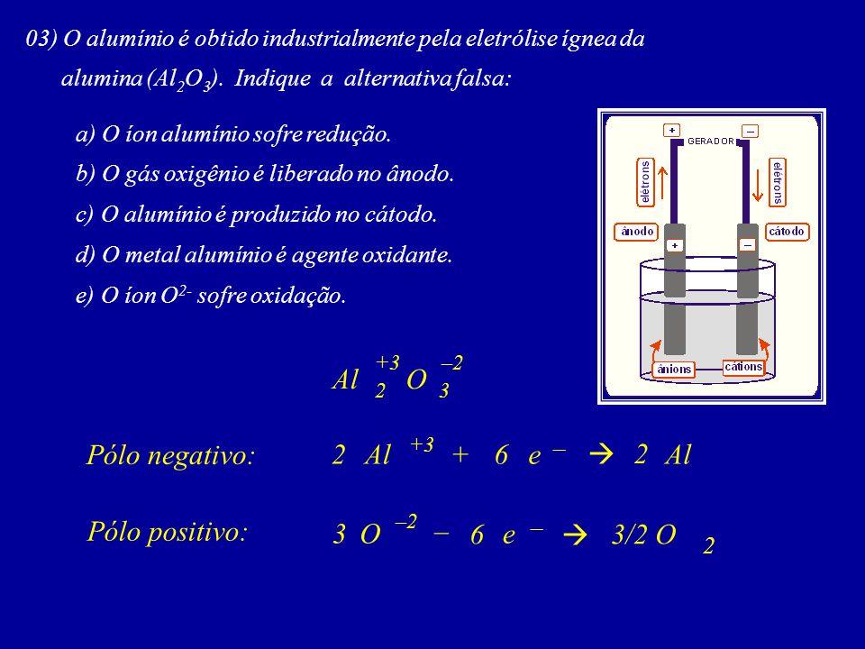 Al O Pólo negativo: 2 Al + 6 e  2 Al Pólo positivo: 3 O – 6 e  3/2 O